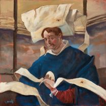 """VICENTE ARNÁS LOZANO (Madrid, 1949). """"The monk"""", 2018. Oil on canvas. Attached certificate of"""