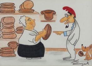 "XAVIER CUGAT (Girona, 1898 - Barcelona, 1990). ""Cugat comprant cassoles de fang"". Mixed media on"