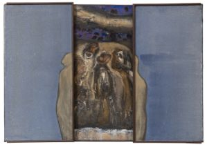 """PIOTR TUREK (Lódz, Poland 1961). """"Dualis"""", 1996. Triptych. Oil and collage on canvas. Signed and"""
