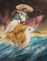 "VICENTE ARNÁS LOZANO (Madrid, 1949). ""Sea horsemen"", 2015. Oil on canvas. Attached certificate of"