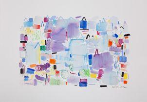 "SUSI LIZONDO (Valencia, 1962). ""Violet landscape"", 2021. Acrylic on paper. Signed in pencil. Signed,"