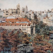 """CARLOS ARRIAGA (Madrid, 1958). """"The transparent city"""", 2021. Oil on grisaille of black and white"""