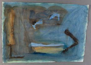 """ALBERT RÀFOLS CASAMADA (Barcelona, 1923 - 2009). """"Composició en blau"""", 1989. Mixed media on ARC"""