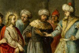 "Flemish school, mid-17th century. ""Jesus before Herod"". Oil on copper. Measurements: 44 x 54 cm;"