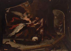"Spanish or Italian school; ca. 1700 ""The dream of St. Joseph"". Oil on canvas. Relined. Presents"