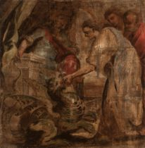 """Flemish school; 17th century. """"Amisorades and the Chimera"""". Oil on serge. It presents damages and"""