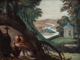 """Flemish school of the XVII century. """"Saint Anthony Abbot praying"""". Oil on copper. Frame of the"""