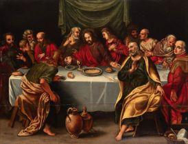 "Valencian school; ca.1600. ""Last supper"". Oil on panel. Cradled. Presents repainting. Measures: 50,5"