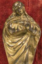 "Andalusian School; XVII century. ""Purisima"". Gilded bronze. Present damages. Measures: 7.5 x 3 x 2"