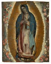 "Novo-Hispanic school, XVIII century. ""Virgin of Guadalupe"". Oil on copper. Measures: 25,5 x 20 cm."