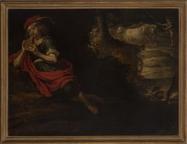"""Flemish school; Last third of the XVII century. """"Shepherd with pan flute"""". Oil on canvas. Relined."""
