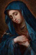 """Circle of MIGUEL CABRERA; XVIII century. """"Dolorosa with legend"""". Oil on canvas. Relined Presents"""