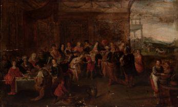 "FRANS FRANCKEN II (Antwerp, Belgium, 1581 - 1642). ""The Wedding at Cana"". Oil on oak panel."