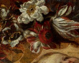 """Italian school of the second third of the seventeenth century. """"Orla de flores con Niño Jesús y"""