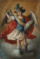 """Attributed to JUAN DE ESPINAL (Seville, 1714 - 1783). """"St. Michael the Archangel. Oil on canvas."""