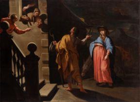 "Spanish or Italian school; ca. 1700 ""The Arrival of the Virgin and St. Joseph in Bethlehem"". Oil"