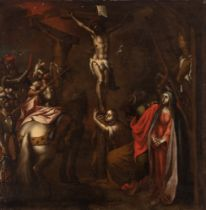"""Andalusian School; second half of the seventeenth century. """"Calvary"""". Oil on canvas. Relined."""