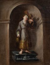 "DOMINGO MARTÍNEZ (Seville, 1688 - 1749), attributed. ""Infant Jesus in niche. Oil on canvas. Size:"