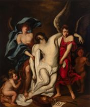 """Spanish School; End of XVII century. """"Christ supported by angels"""". Oil on canvas. Relined."""