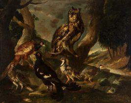 "Dutch School, XVII century. ""Birds"". Oil on canvas. Size: 133 x 168 cm.; 157 x 193 cm. (frame)."