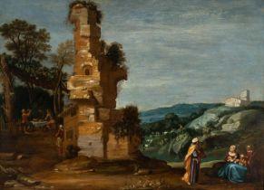 "Dutch school, XVII century. ""The departure of Abraham"". Oil on panel. Size: 57 x 75 cm; 68 x 85"