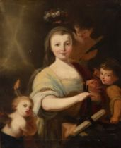 "Italian school; first half of the eighteenth century. ""Portrait of lady are Santa Teodora"". Oil on"