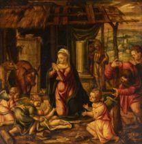"Spanish school of the first half of the XVII century. ""Nativity. Oil on panel. Size: 27 x 27 cm;"
