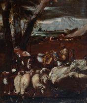 """Circle of ANDREA DI LIONE (Naples, 1610 - 1685). """"Pastoral scene"""". Oil on canvas. Relined Period"""