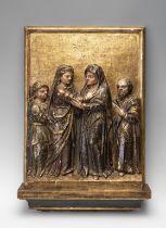 "Castilian School, XVI century. ""The Visitation"". Relief, gilded and polychrome. Measures: 66 x 46"