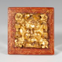 Altarpiece element. Spain, ca. 1600. Carved, polychrome and gilded wood. Measures: 11 x 11 cm.