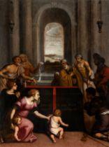 "Spanish school of the mid-sixteenth century. ""Sepulchre of St. Felix Valesio"". Oil on panel. Size:"