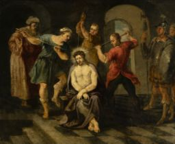 """Flemish school of the mid-seventeenth century. """"The mockery of Christ"""". Oil on copper. Size: 44 x 54"""