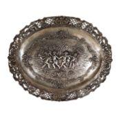 Tablett Silber Mond Krone 800 gepunzt