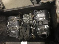 LOT OF: (2) ATLANTA RIGGING SYSTEMS LODESTAR ELECTRIC CHAIN HOISTS W/ 75' OF CHAIN IN BOX