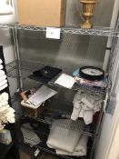 4-TIER CHROME WIRE SHELVING UNIT, APPROX 4FT WIDE AND 6 FEET TALL, ON CASTERS (CONTENTS NOT INCLUDED