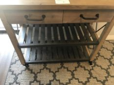 PORTABLE TABLE, 2-DRAWER WITH 2 UNDERSHELVES AND 2 TOWEL HANDLES, APPROX 38LONG X 33HIGH X 16DEEP