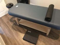 EARTHLITE SEDONA SPA TREATMENT TABLE, BLUE, WITH FACE CRADLE, LEG SUPPORT, AND A2ZCARE FLOOR PAD
