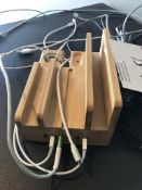 LOT OF: 6 PORT CHARGING BAY, WITH POWERSTRIP AND 2 LINE DESKTOP PHONE HANDSET
