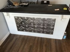 """RECEPTION COUNTER, APPROX 75"""" X 30"""" X 38"""", WITH CHAIR"""