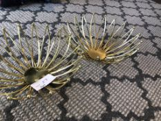 LOT OF: (2) GOLD COLORED, METAL FRUIT BOWLS