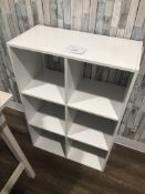 """6 COMPARTMENT WHITE CUBBY, APPROX 36"""" X 24"""" X 12"""""""