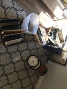 LOT OF: ASSORTED OFFICE SUPPLIES, WALL CLOCKS, FRAME, BOWL, WICKER BASKETS, ETC