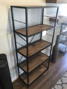 5-TIER WOOD AND METAL CONSTRUCTED BOOK SHELF, APPROX 63X30X14