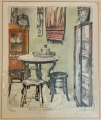 TWO SIGNED LIMITED EDITION PRINTS OF FURNITURE DESIGN - MOUNTED