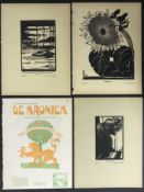 COLLECTION OF WOODCUTS PRINTS BY HAN KRUG OTHERS
