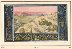 EARLY COLOURED PRINT OF SAFED - JEWISH INTEREST JUDAICA