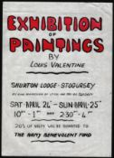 HANDMADE VINTAGE POSTER FOR EXHIBITION OF PAINTINGS BY LOUIS VALENTINE