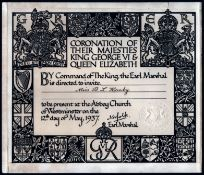 1937 TICKET FOR CORONATION OF THEIR MAJESTIES KING GEORGE VI & QUEEN ELIZABETH