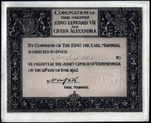 1902 TICKET FOR CORONATION OF THEIR MAJESTIES KING EDWARD VII & QUEEN ALEXANDRA