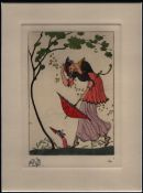 GEORGES BARBIER (1882-1932) THEATRE HAND-COLOURED ETCHING ON WOVE ca. 1912 ARTIST PROOF